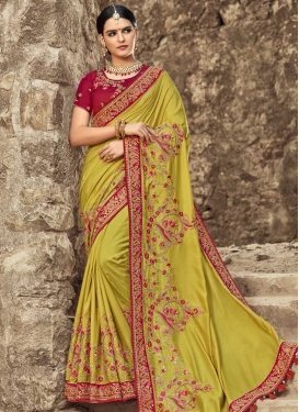 Satin Silk Aloe Veera Green and Crimson Beads Work Designer Contemporary Saree
