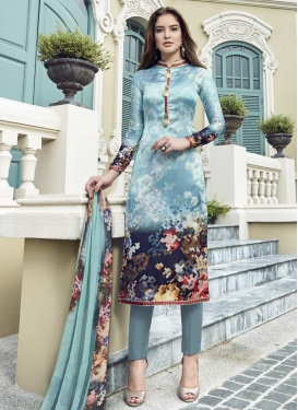 Satin Silk Aqua Blue and Grey Digital Print Work Pant Style Salwar Kameez