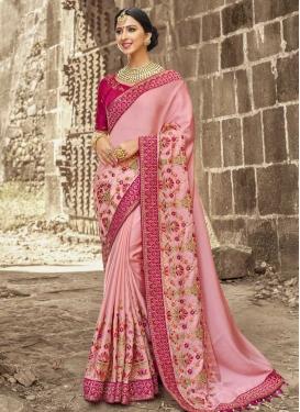 Satin Silk Beads Work Contemporary Style Saree