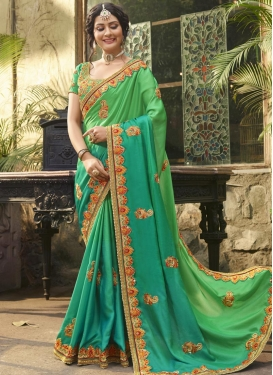 Satin Silk Beads Work Traditional Saree