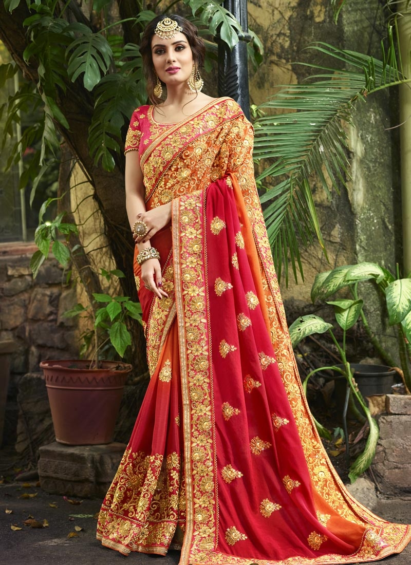 Satin Silk Beads Work Trendy Classic Saree