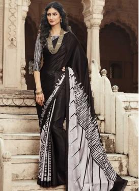 Satin Silk Black and Off White Designer Contemporary Style Saree