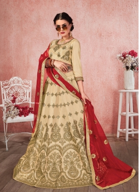 Satin Silk Booti Work A Line Lehenga Choli