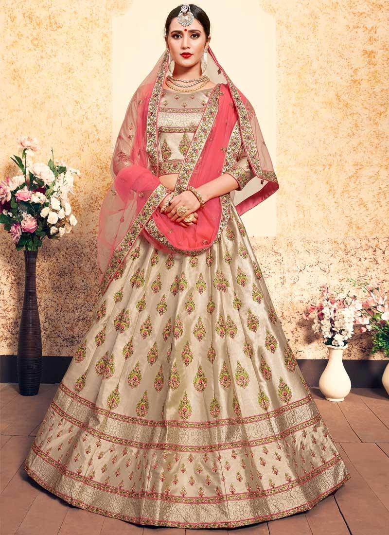 Satin Silk Booti Work Designer Lehenga Choli