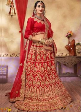 Satin Silk Booti Work Trendy A Line Lehenga Choli