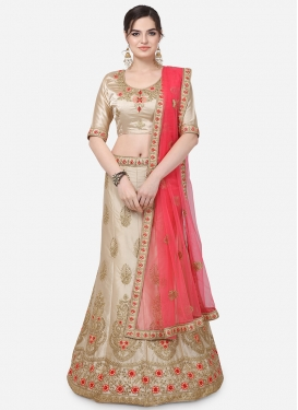 Satin Silk Booti Work Trendy Lehenga Choli