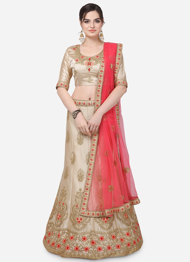 Satin Silk Booti Work Trendy Lehenga Choli