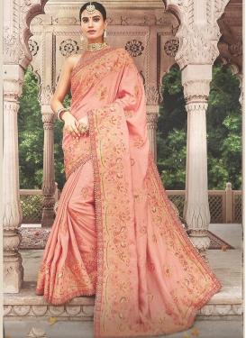 Satin Silk Classic Saree in Peach