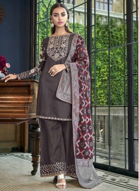 Satin Silk Coffee Brown and Grey Embroidered Work Designer Palazzo Salwar Kameez