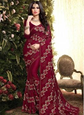 Satin Silk Contemporary Style Saree For Bridal