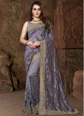 Satin Silk Contemporary Style Saree For Ceremonial