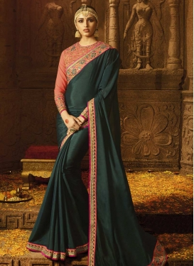Satin Silk Contemporary Style Saree For Festival