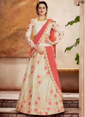 Satin Silk Cream and Salmon Lehenga Style Saree For Bridal