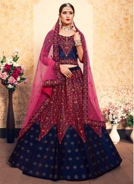 Satin Silk Designer A Line Lehenga Choli