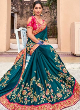 Satin Silk Designer Contemporary Style Saree For Bridal