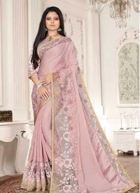 Satin Silk Designer Contemporary Style Saree For Ceremonial