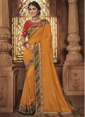Satin Silk Designer Contemporary Style Saree For Festival