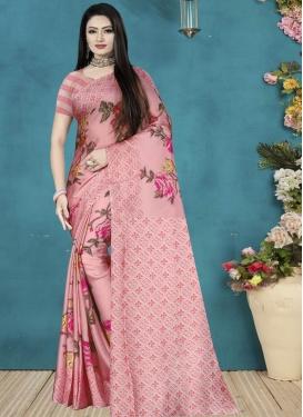 Satin Silk Digital Print Work Designer Traditional Saree
