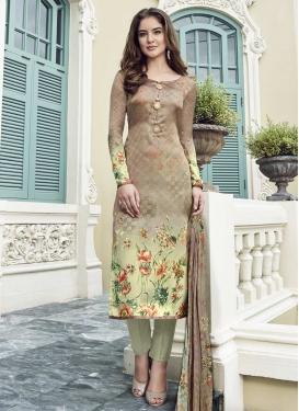 Satin Silk Digital Print Work Pant Style Salwar Kameez