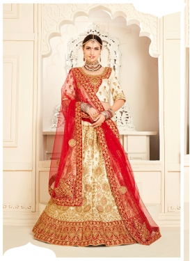 Satin Silk Embroidered Trendy A Line Lehenga Choli in Cream