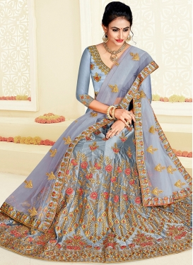 Satin Silk Embroidered Trendy Lehenga Choli in Grey