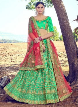 Satin Silk Embroidered Work A Line Lehenga Choli