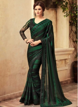Satin Silk Embroidered Work Classic Saree