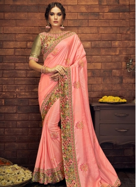 Satin Silk Embroidered Work Contemporary Saree