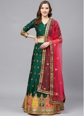 Satin Silk Embroidered Work Designer Classic Lehenga Choli