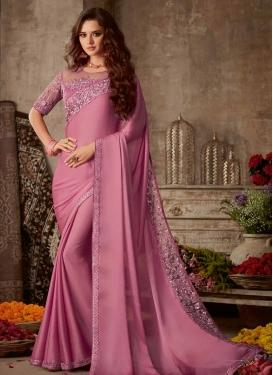 Satin Silk Embroidered Work Designer Contemporary Saree