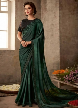 Satin Silk Embroidered Work Designer Contemporary Saree