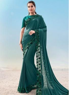 Satin Silk Embroidered Work Designer Contemporary Style Saree