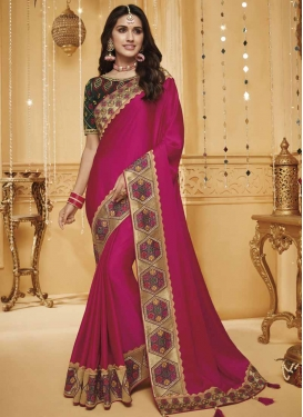 Satin Silk Embroidered Work Designer Traditional Saree
