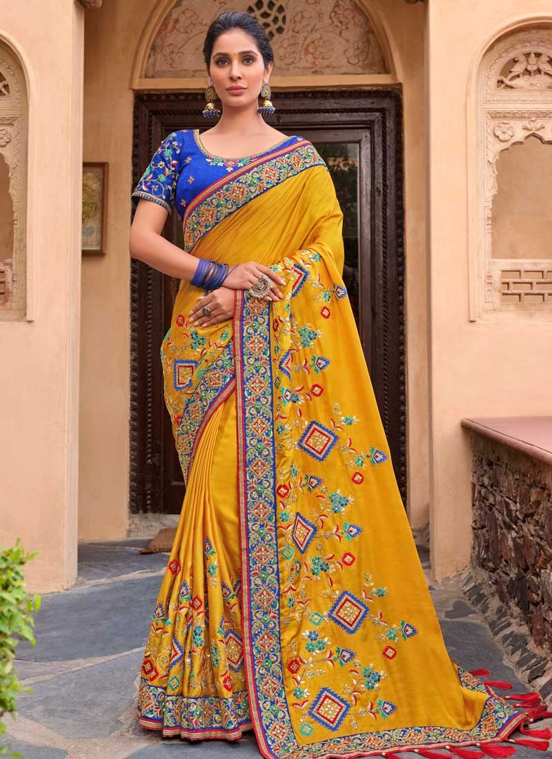 Satin Silk Embroidered Work Designer Traditional Saree