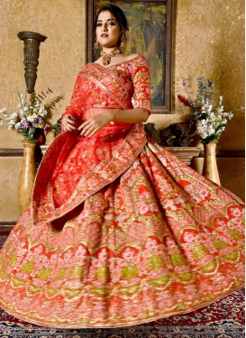Satin Silk Embroidered Work Lehenga Choli
