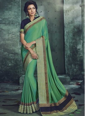 Satin Silk Embroidered Work Navy Blue and Sea Green Designer Contemporary Saree