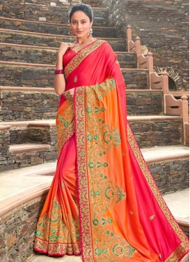 Satin Silk Embroidered Work Orange and Red Traditional Designer Saree