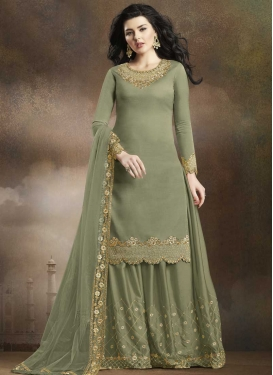 Satin Silk Embroidered Work Palazzo Designer Salwar Kameez