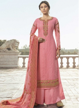 Satin Silk Embroidered Work Palazzo Style Pakistani Salwar Kameez