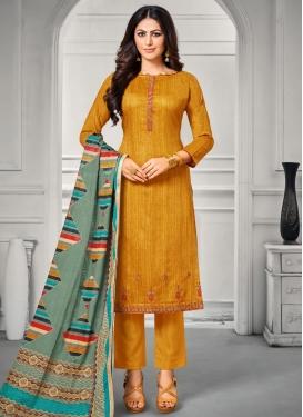 Satin Silk Embroidered Work Pant Style Pakistani Salwar Suit