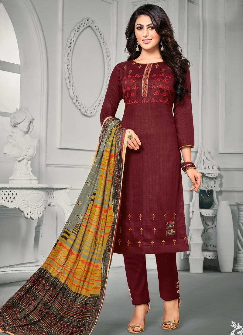 Satin Silk Embroidered Work Pant Style Pakistani Suit