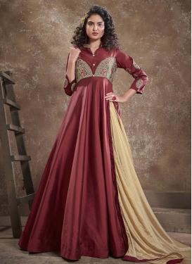 Satin Silk Embroidered Work Readymade Designer Gown