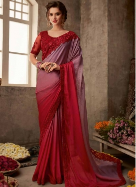 Satin Silk Embroidered Work Red and Violet Classic Saree
