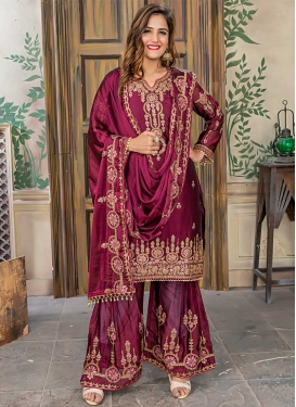 Satin Silk Embroidered Work Sharara Salwar Suit