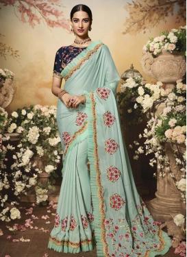 Satin Silk Embroidered Work Traditional Designer Saree