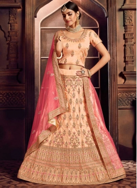 Satin Silk Embroidered Work Trendy A Line Lehenga Choli