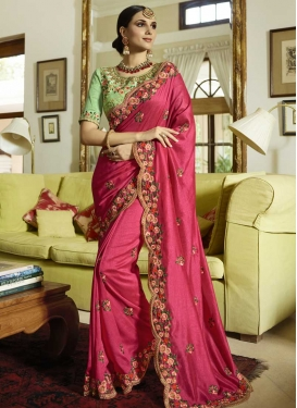 Satin Silk Embroidered Work Trendy Designer Saree