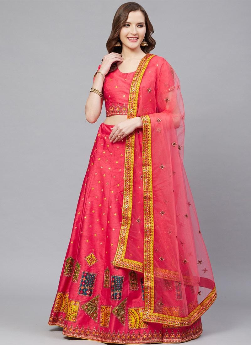 Satin Silk Embroidered Work Trendy Lehenga Choli
