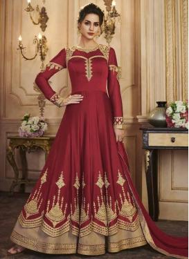 Satin Silk Floor Length Anarkali Salwar Suit