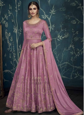 Satin Silk Floor Length Anarkali Salwar Suit